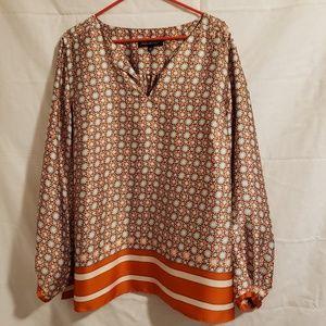 Jones New York blouse Size 16W orange & cream
